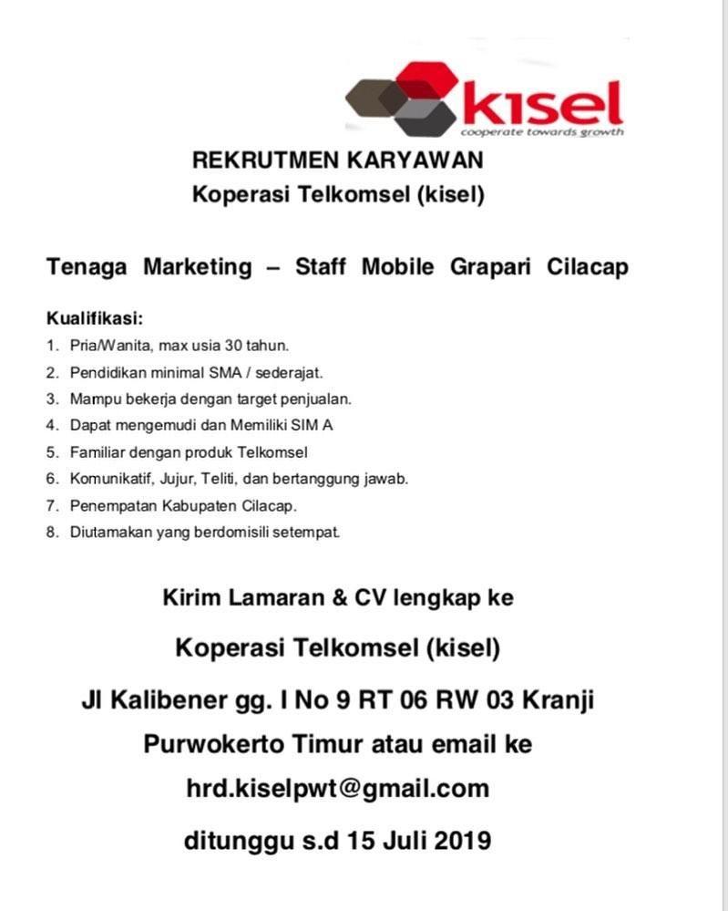 Lowongan Kerja Koperasi Telkomsel Kerja Marketing Pendidikan