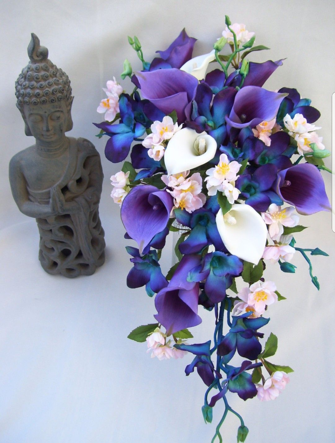 Perfect Cherry Blossom Lily And Orchid Bouquet Spring Wedding Bouquets Purple Calla Lilies Blue Wedding Flowers