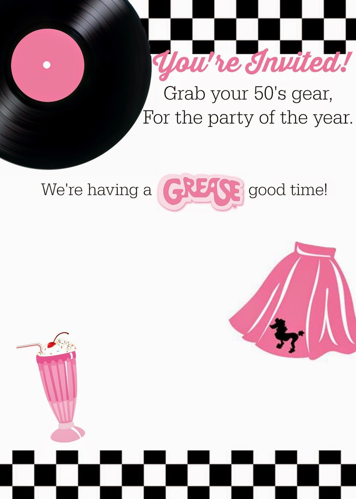 Free 50\'s Grease theme invitation with instructions to personalize ...