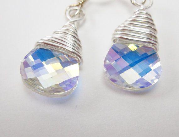 Swarovski Crystal AB Earrings Sterling Silver by Heidisjewels, $10.00