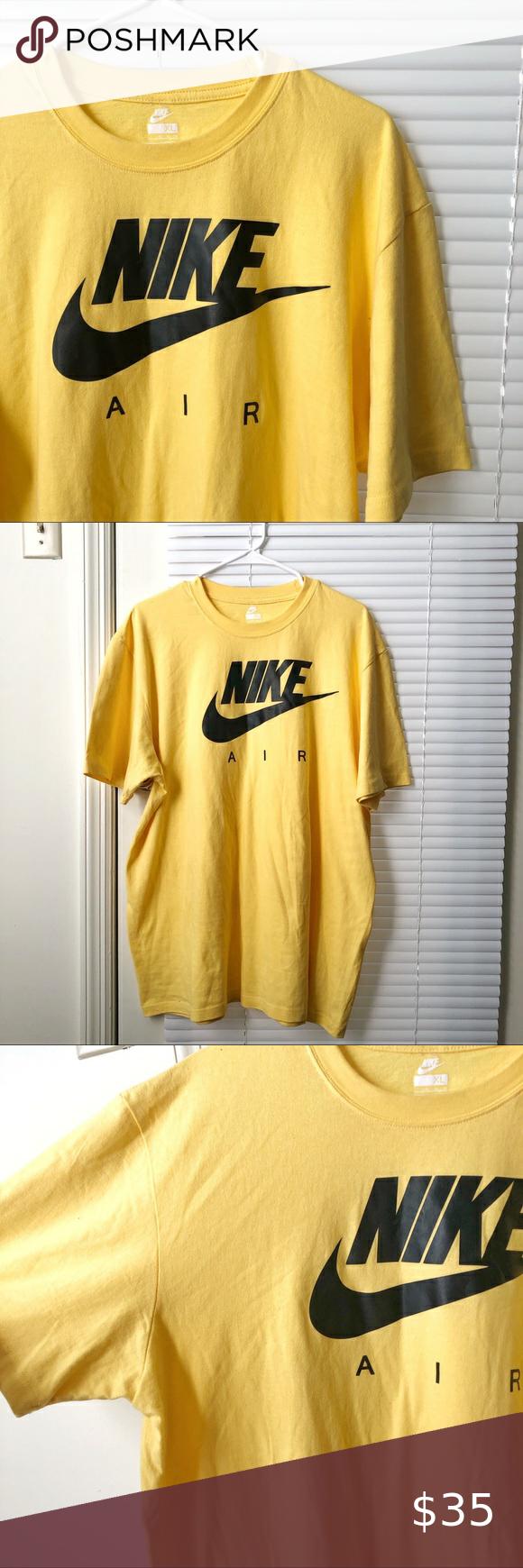 Nike Air Swoosh T Shirt Logo Crewneck Graphic Tee Yellow T Shirt Graphic Tees Tshirt Logo [ 1740 x 580 Pixel ]
