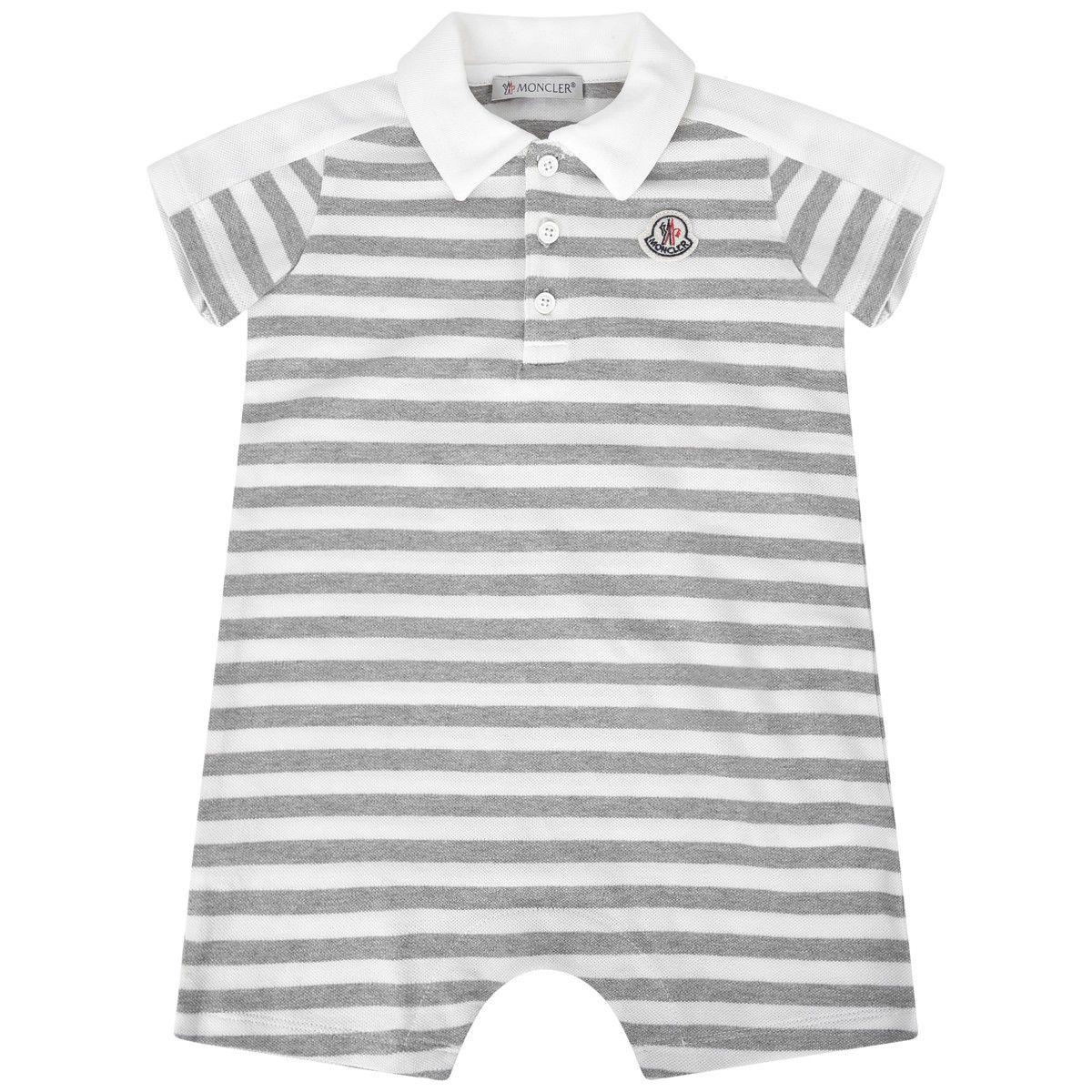 1768fac98 Moncler Baby Boys Grey Striped Cotton Pique Romper | Babywear SS16 ...