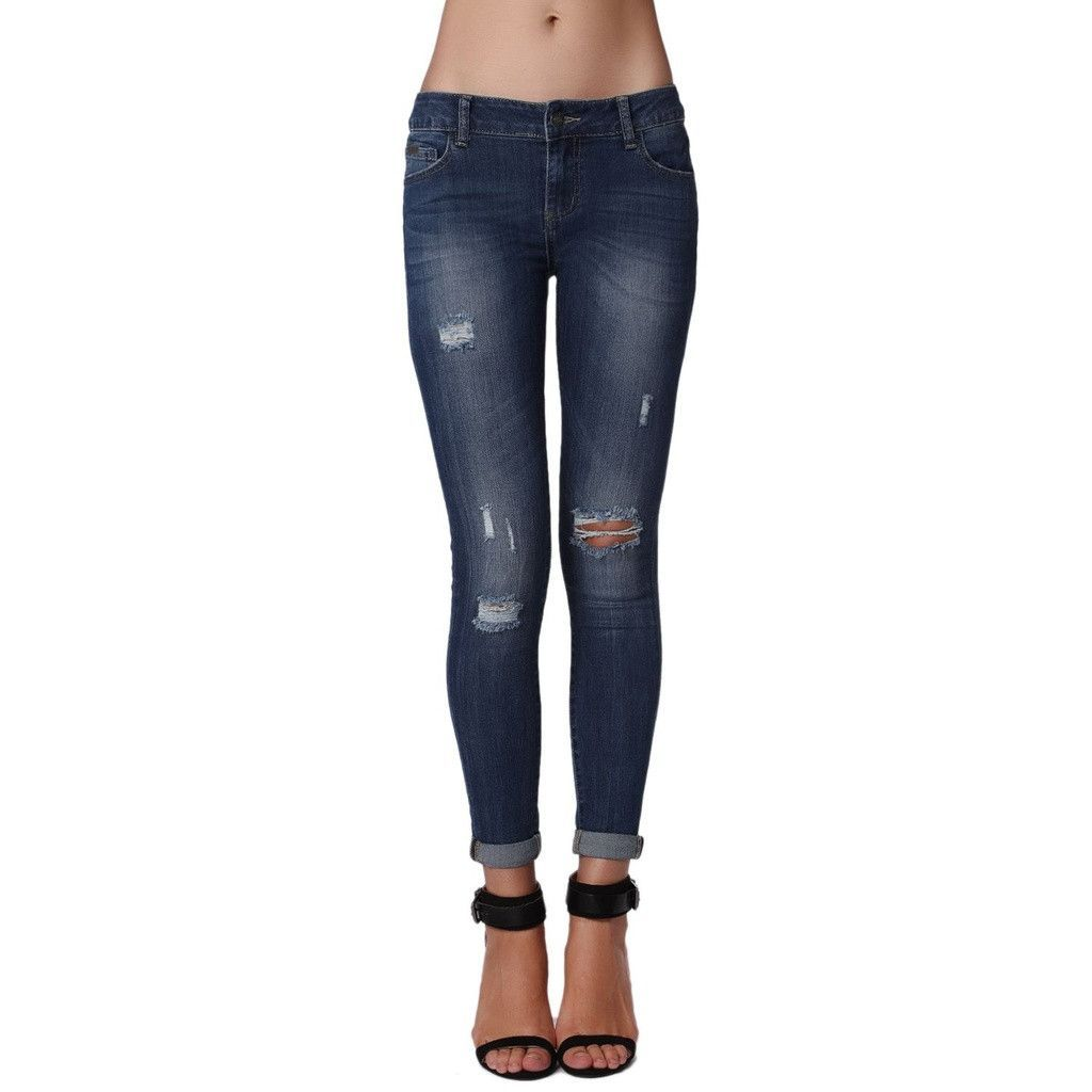 1c276a1d03 Jeans in Mid Stone Wash with Busted Knees
