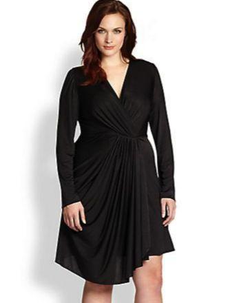 Beyond Vintage Plus Size Black Draped Dress