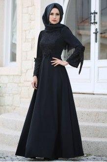 032bc519e80b5 Rüya Elbise Siyah - Gizem Kış | Tesettür Elbise Modelleri in 2019 ...