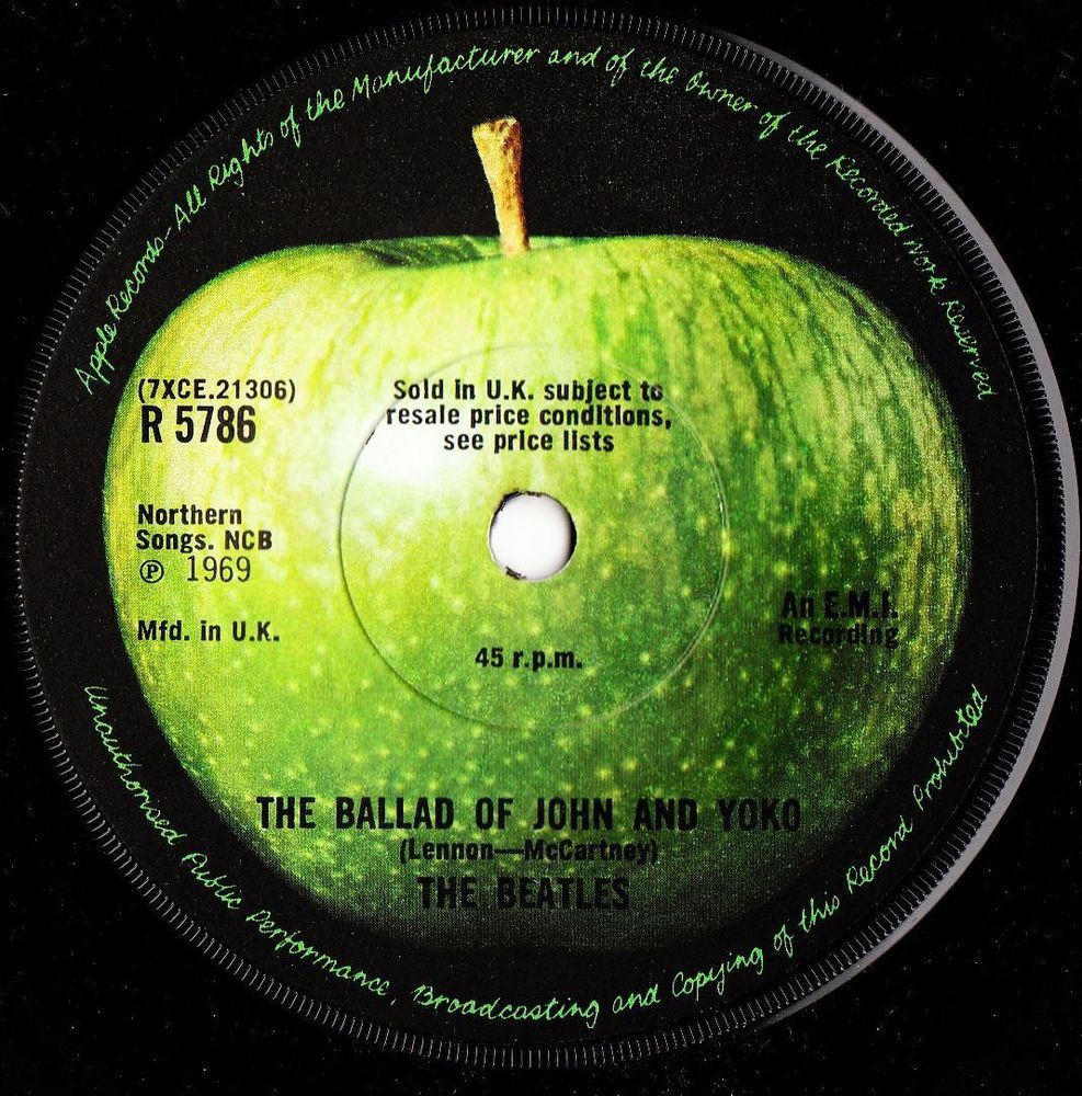THE BEATLES Ballad of John and Yoko 1969 UK APPLE RECORDS