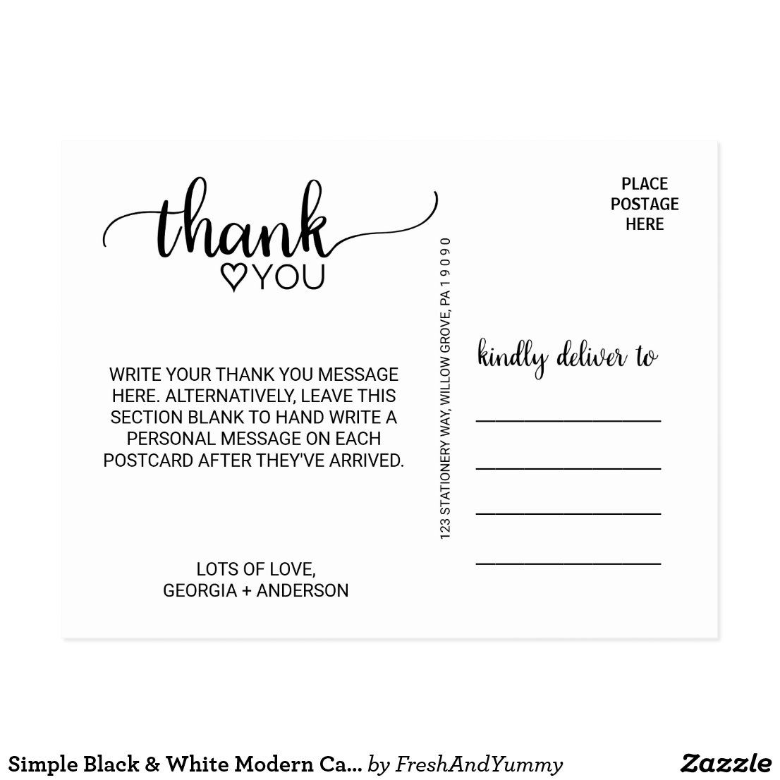 Simple Black Calligraphy Thank You Postcard Zazzle Com Thank You Postcards Calligraphy Thank You Postcard