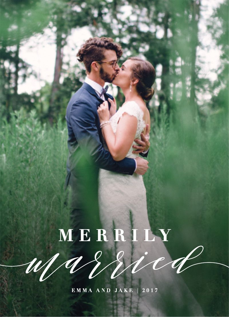 Merrily married newly wed christmas holiday greeting