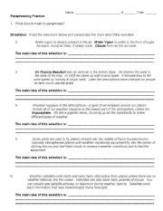 English worksheet: Paraphrasing Practice | 6th grade LA - nonfiction ...
