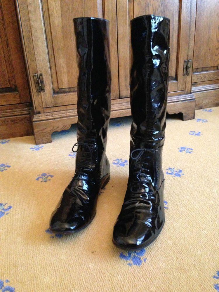 5026a4c1f9f Gucci Men s Black Leather Patent Tall Boots UK 10.5 US 11.5 EU 44.5  Military  Gucci  LongRidingBoots