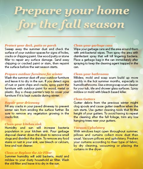 With only a few weeks left of summer, now is the perfect time to prepare for the Autumn weather and keep your home running smoothly. Click to download the pdf AskHomesale.com provides real estate a...