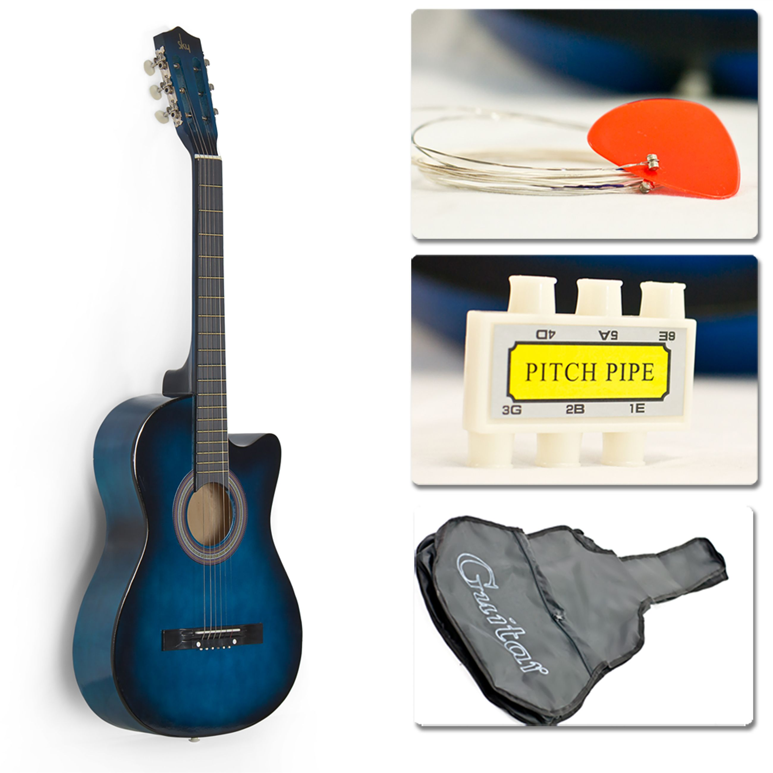 38in Beginners Acoustic Cutaway Guitar W Case Strap Tuner And Pick Blue Blue Acoustic Guitar Acoustic Guitar For Sale Guitar Case
