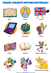 school subjects esl printable worksheets and exercises school subject school subjects. Black Bedroom Furniture Sets. Home Design Ideas