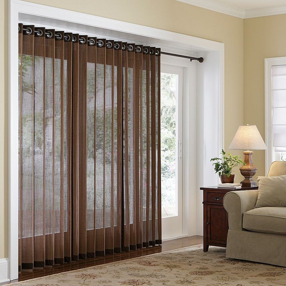 Living room blinds window treatments for sliding glass door brown