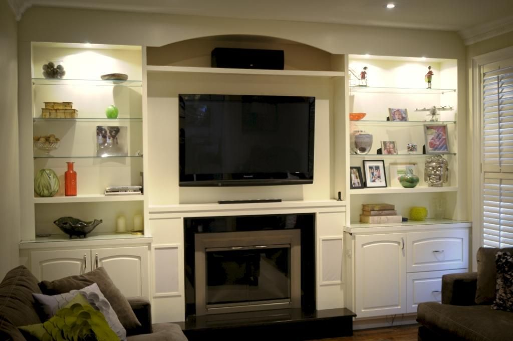 Icicle White Built-in Wall Unit and Fireplace Surround - Interior: Exciting Home Entertainment Design In IKEA Armoire Wall