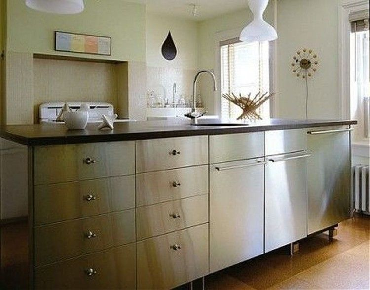 40 Classy Stainless Steel Kitchen Cabinet Design For Cozy Kitchen Ideas Stainless Steel Kitchen Cabinets Kitchen Cabinets And Backsplash Steel Kitchen Cabinets
