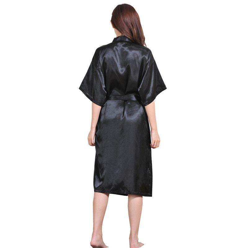 Women Silk Satin Long Night Robe Solid Kimono Robe Fashion Bath Robe Sexy Bathrobe Peignoir Femme Wedding Bride Bridesmaid Robe