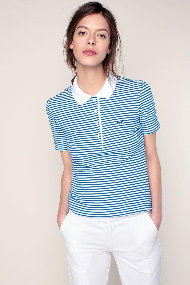 2df5f54ec85c4 Polo bleu texturé rayé blanc texturé logo brodé Lacoste Camisa Polo