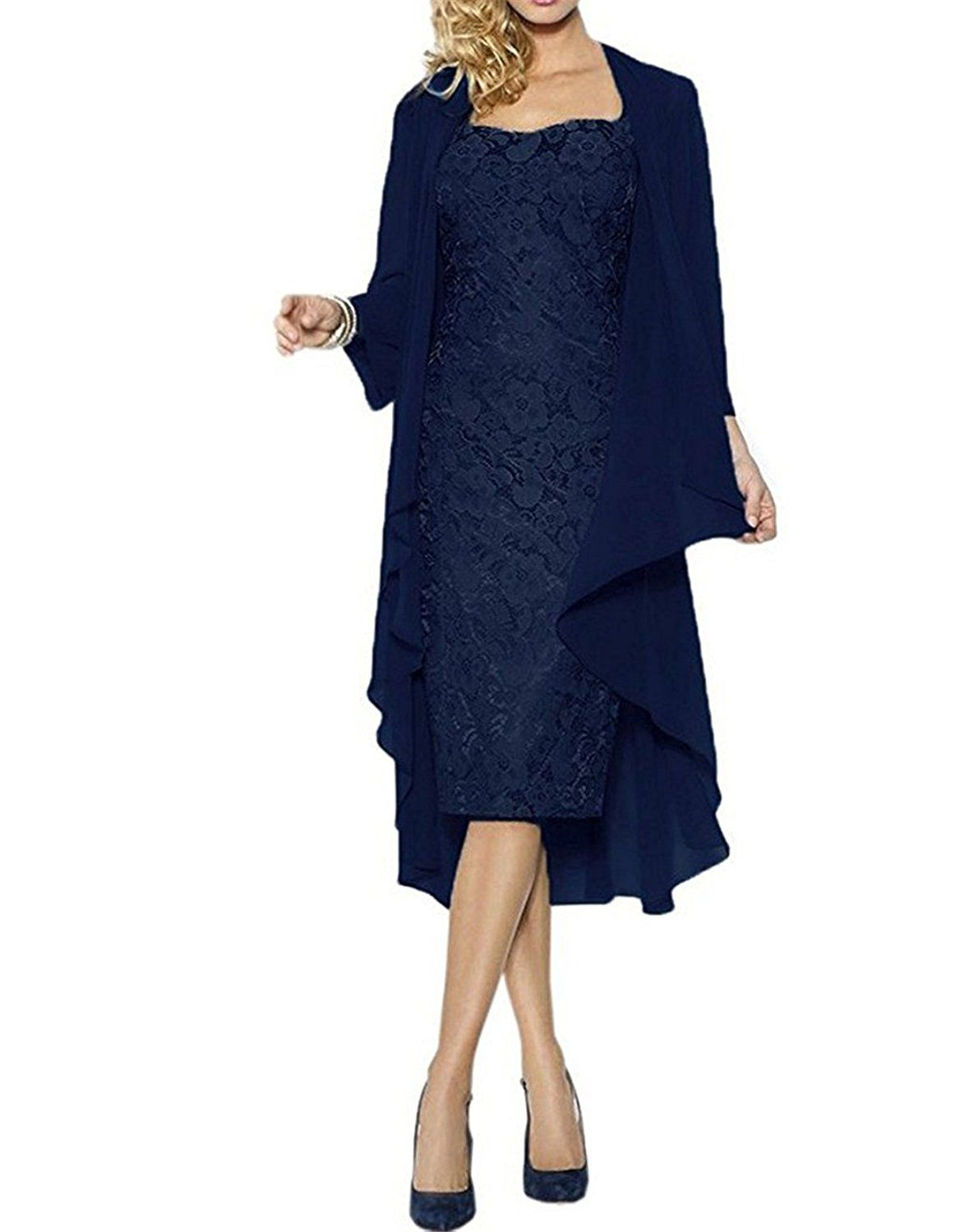 ModeC Lace Mother of the Bride Dress With Chiffon Jacket Wraps ...