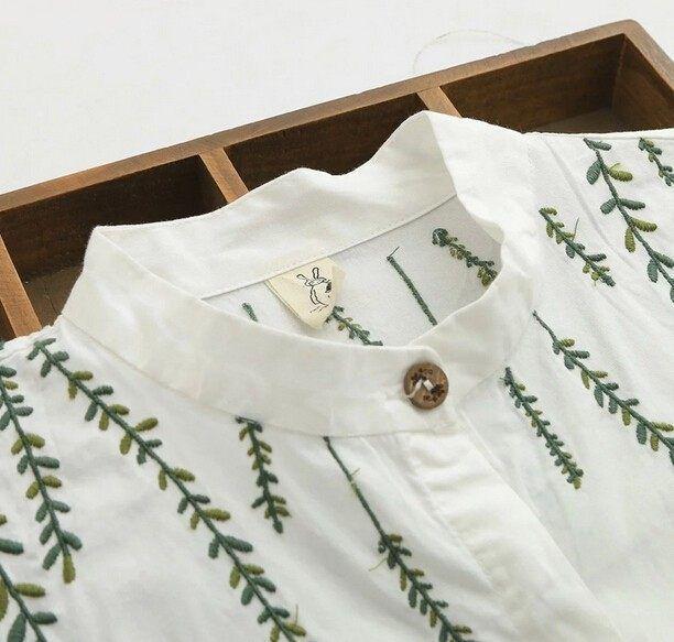 Photo of kleine frische Weidenstickerei Baumwolle umdrehen Kragen Langarm weiß langes Hemd Bluse Mori …