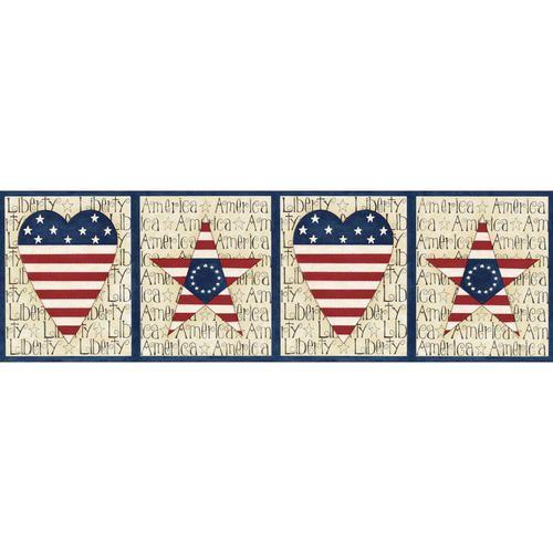 Americana Wall Border Patriotic Heart And Star Border Wallpaper Companies Wallpaper Blue Star