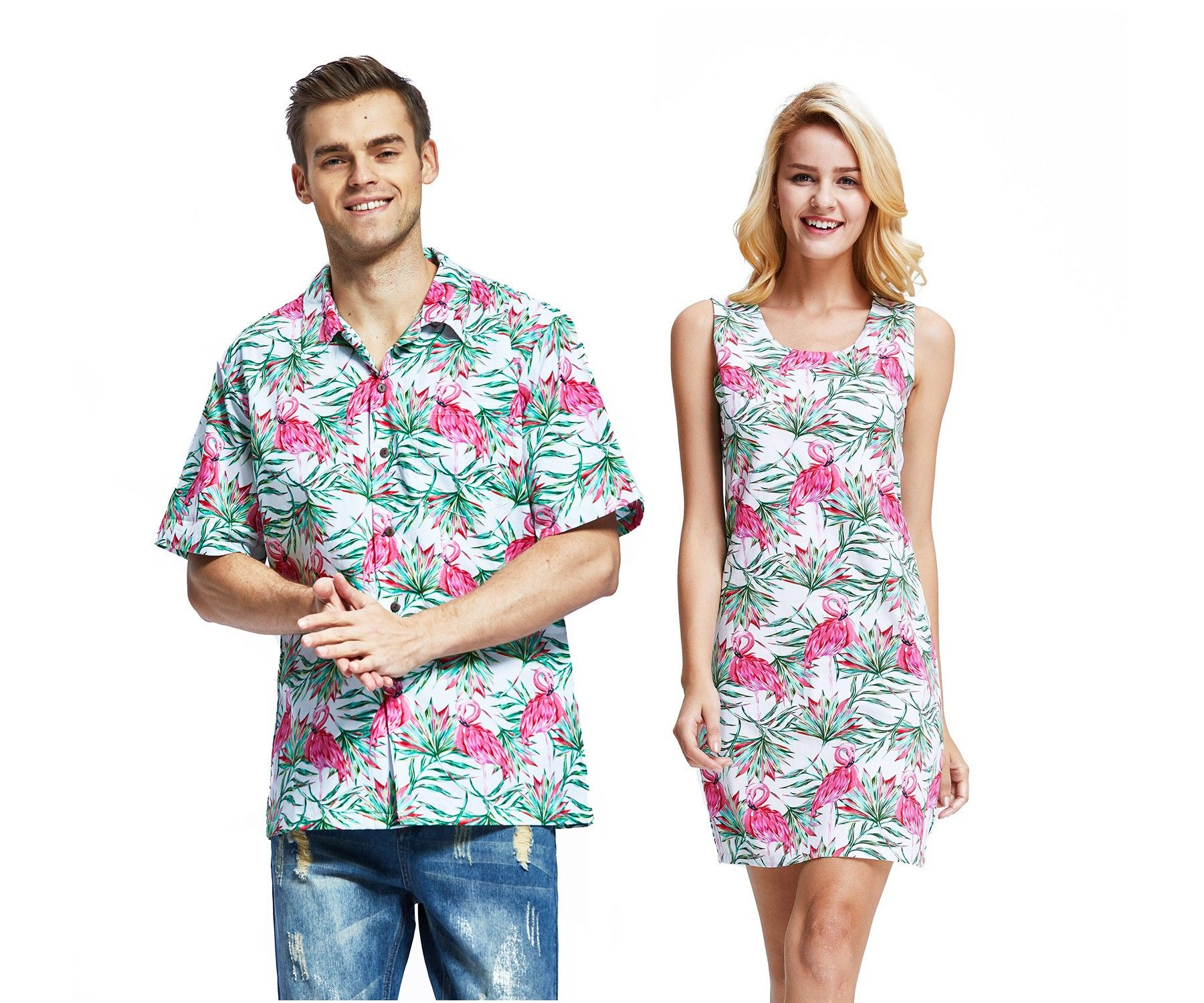 a2299792 Couple Matching Men Aloha Shirt and Women Dresses in Flamingo in Love