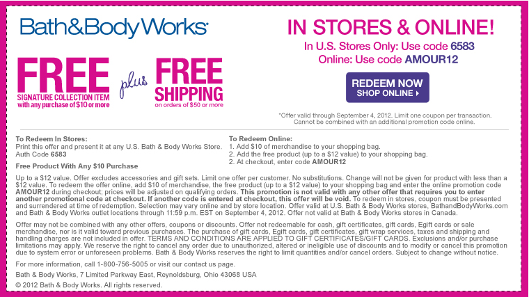 12 Signature Item Free With 10 Spent At Bath Body Works Or Online Via Checkout Promo Amour12 Coupon Bath And Body Works Free Printable Coupons Body Works