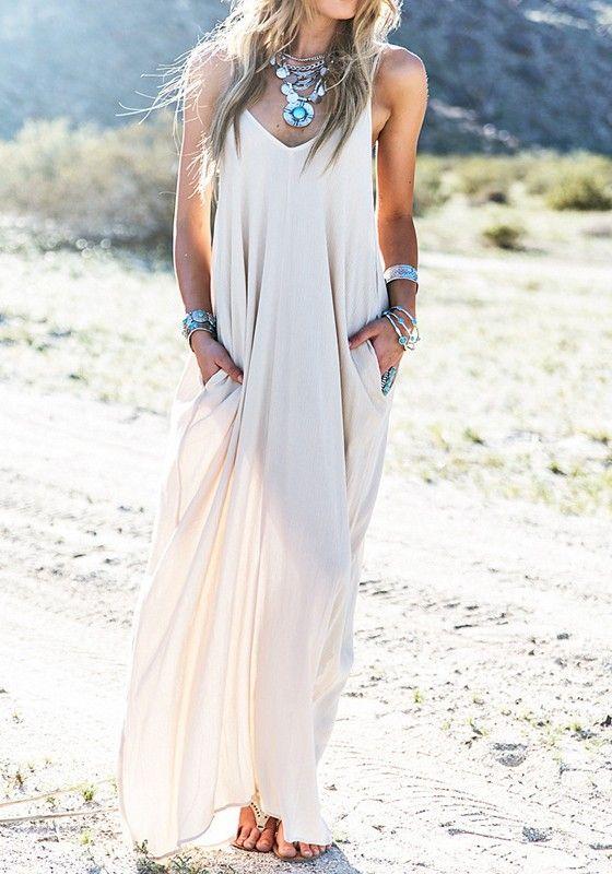 Robe uni condole poches de ceinture bohème plage robe de soirée étage de cocktail longueur lâche blanc