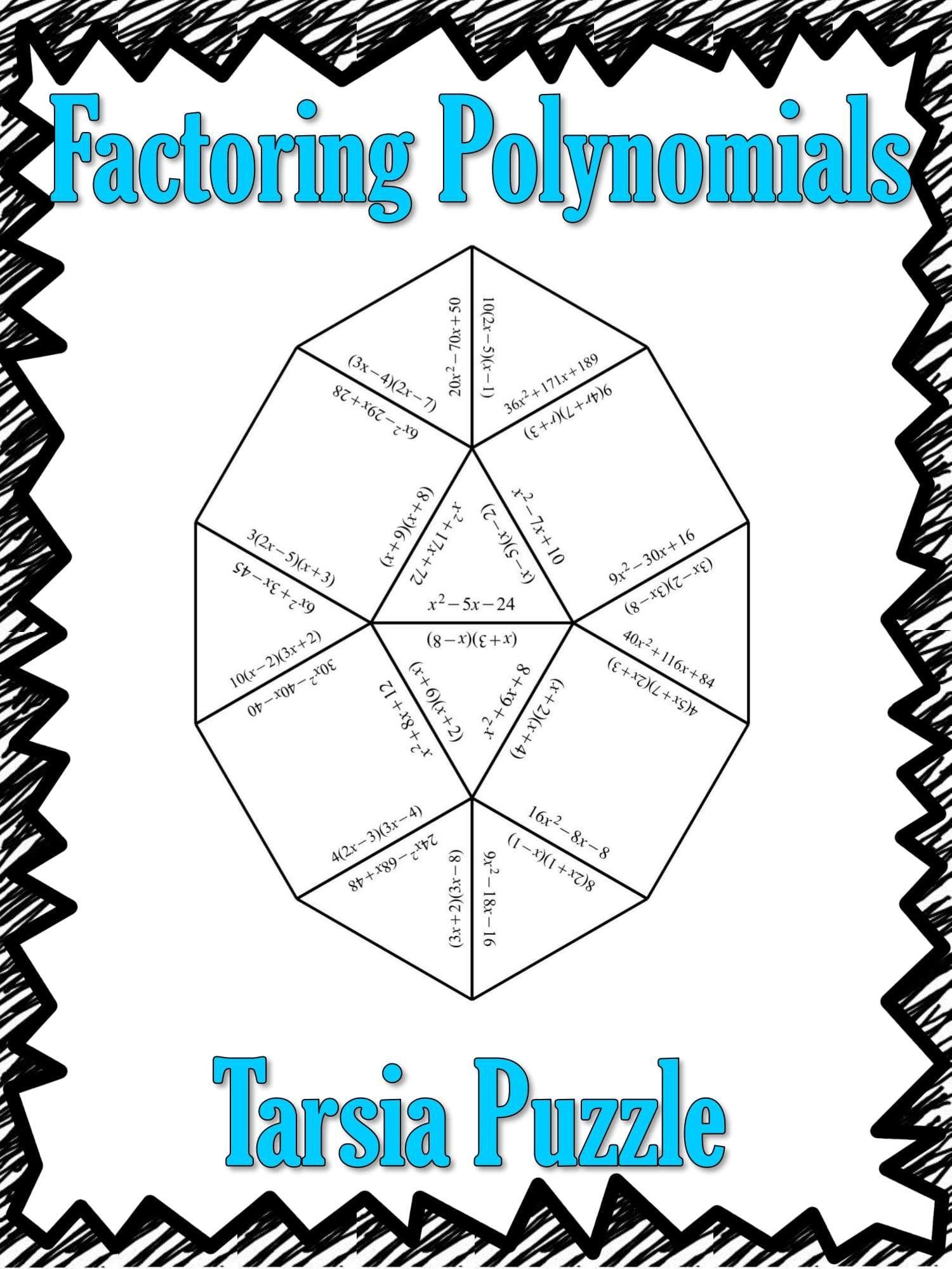 Factoring Polynomials Tarsia Puzzle