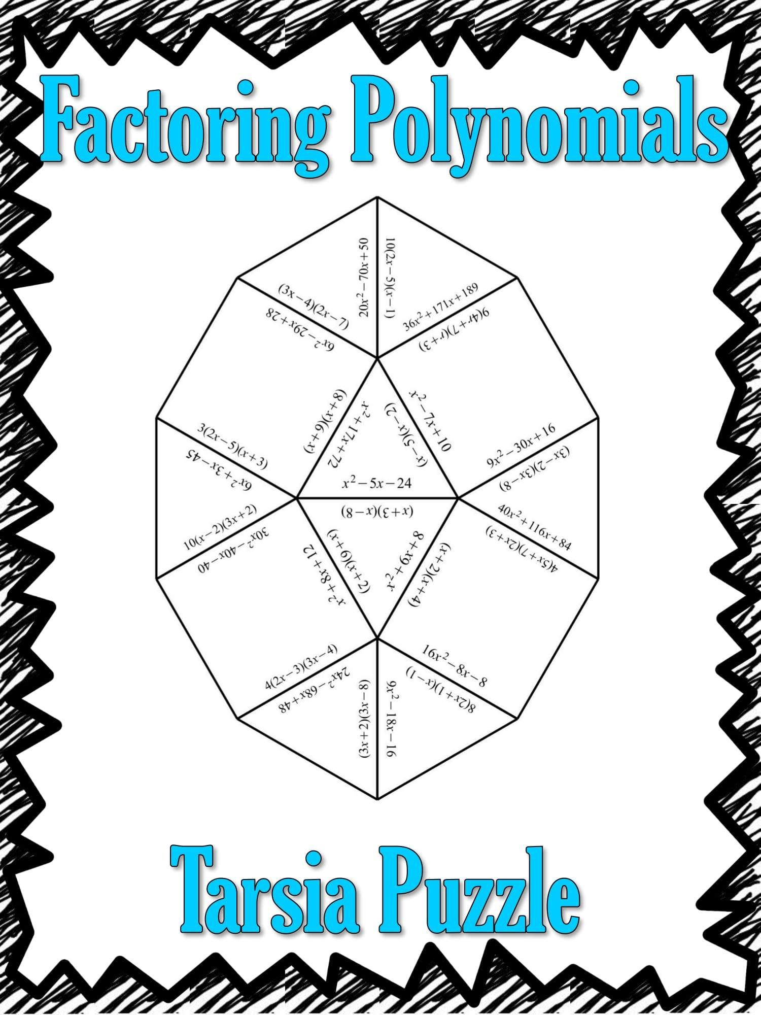 Factoring Polynomials Tarsia Puzzle Polynomials activity