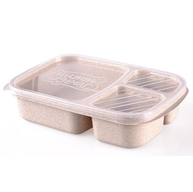 QuickDone Wheat Straw 3 Grid Lunch Bento Box With Lid Biodegradable