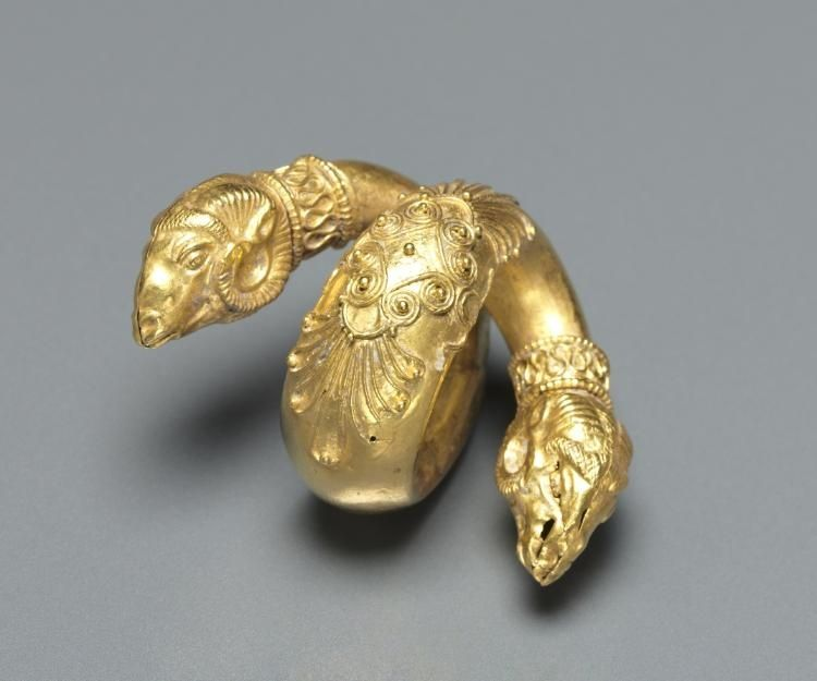 Hair Ringlet with Ram Head, c. 4th Century BC                                                Greece, Hellenistic period