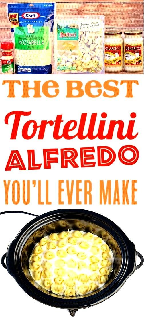 Crockpot Alfredo Tortellini! This Easy Slow Cooker Pasta is just 4 ingredients, and one of the EASI