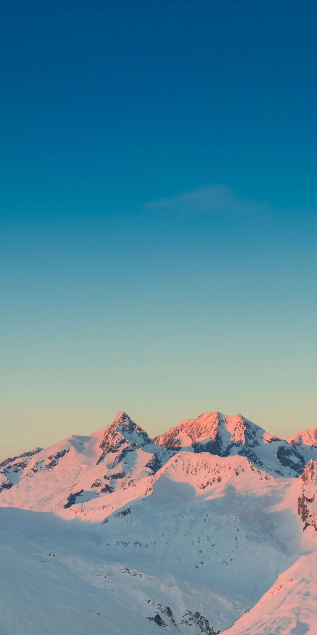 Sunset Horizon Clean Sky Glacier Mountains Nature 1080x2160