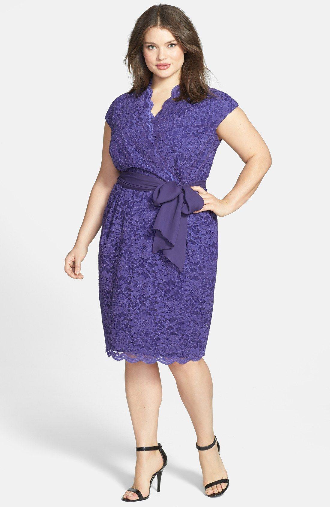 Alex Evenings Surplice Neckline Lace Dress (Plus Size) | Nordstrom ...