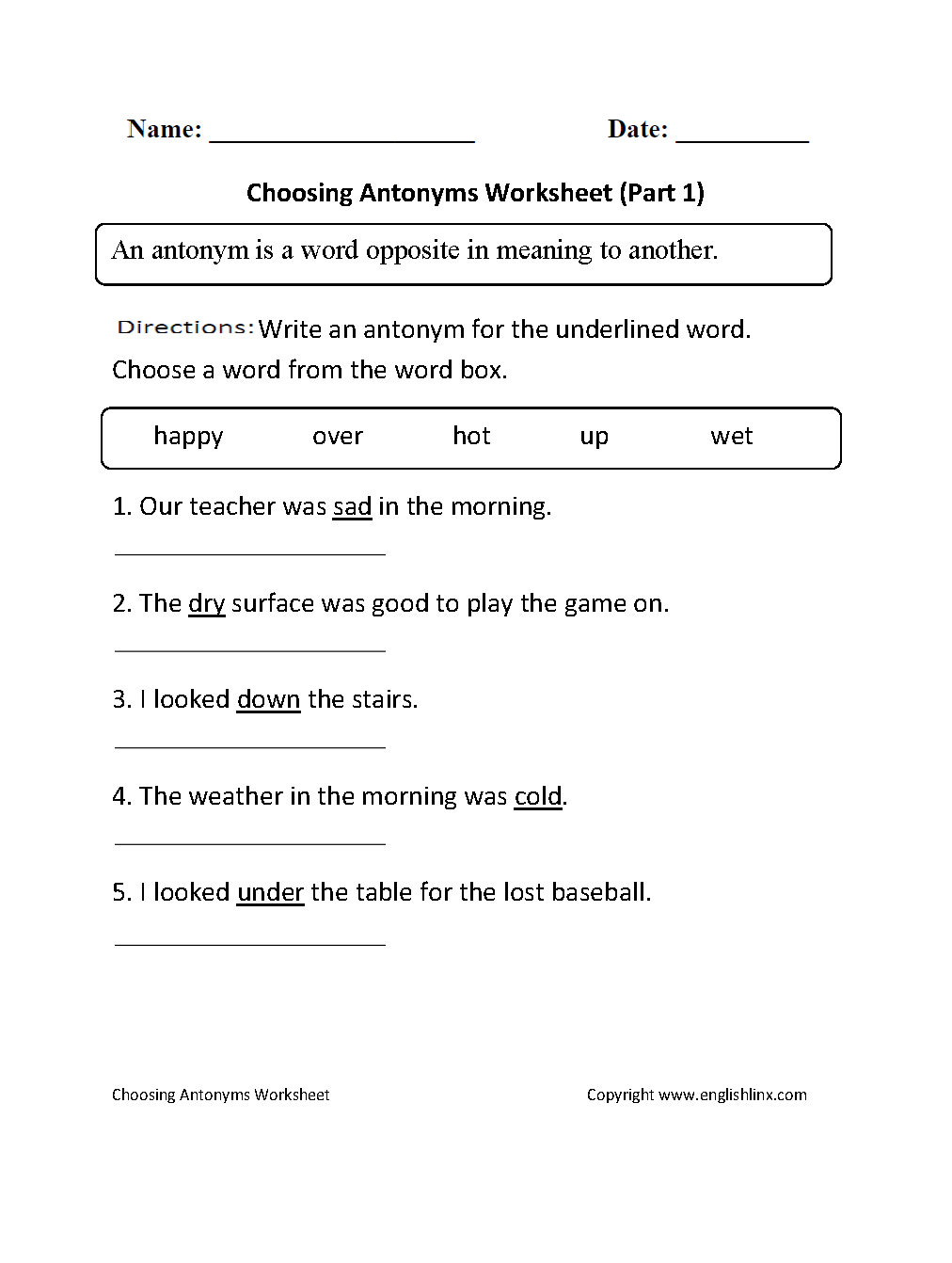 Choosing Antonyms Worksheet Part 1 Special education