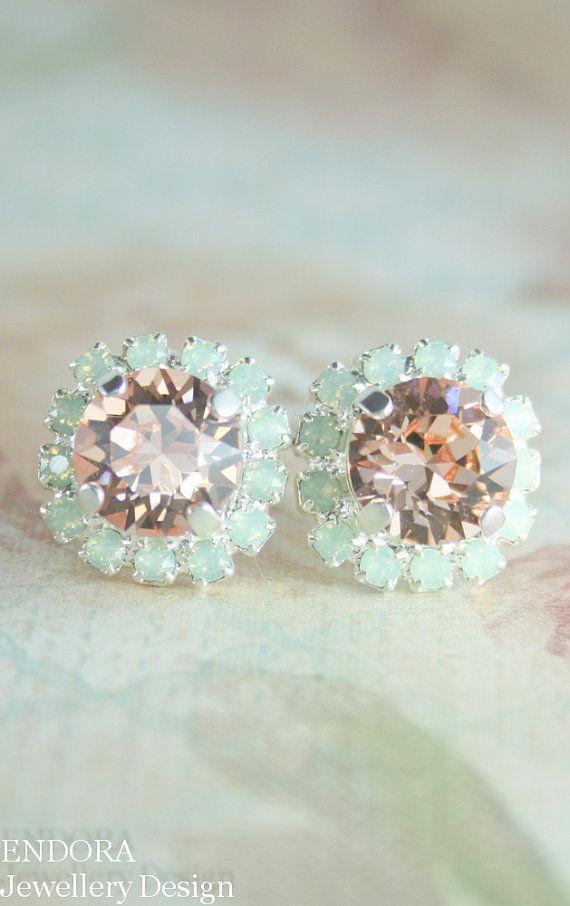 Mint and peach earringscrystal by EndoraJewellery on Etsy
