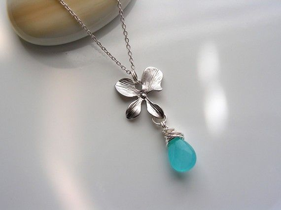 Matte Rhodium Plated Orchid and Blue Turquoise by CrinaDesign73, $23.00