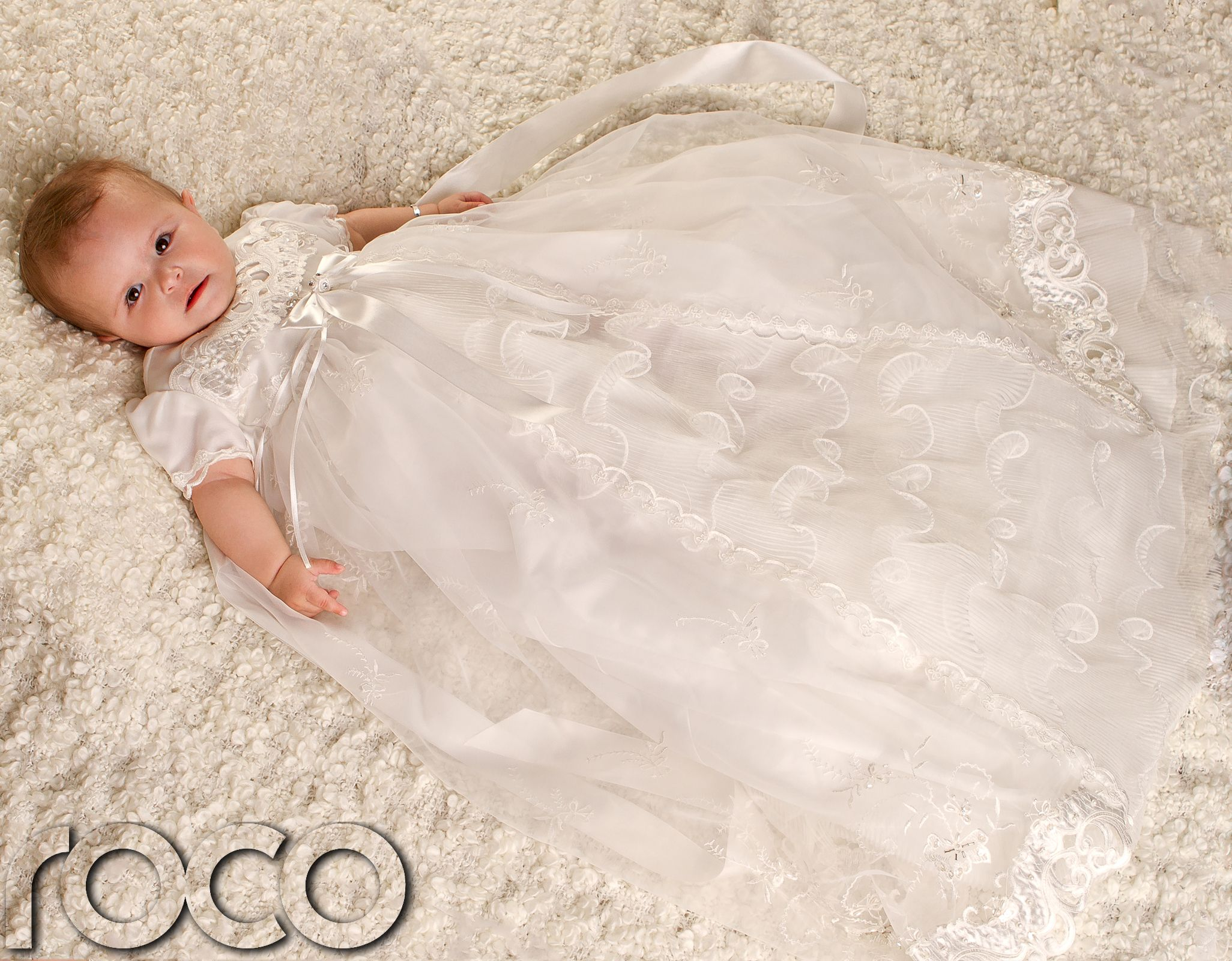 Baby Girls Ivory Dress Traditional Baptism Gown Christening Dresses