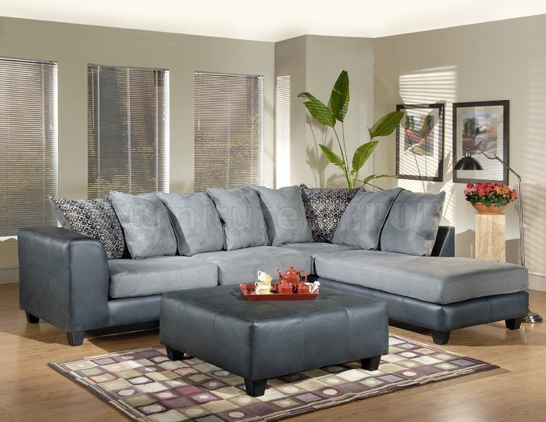 Grey Fabric Sectional Sofa W Leather Base Optional Ottoman