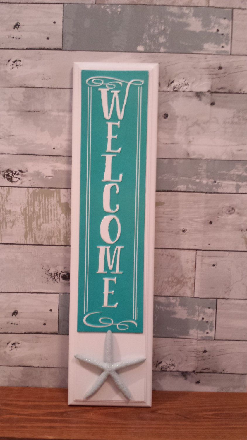 Beach Welcome Sign Starfish Welcome Sign Vertical Welcome Sign Front Door Welcome Signs Front Door Rustic Wood Wall Art Porch Welcome Sign