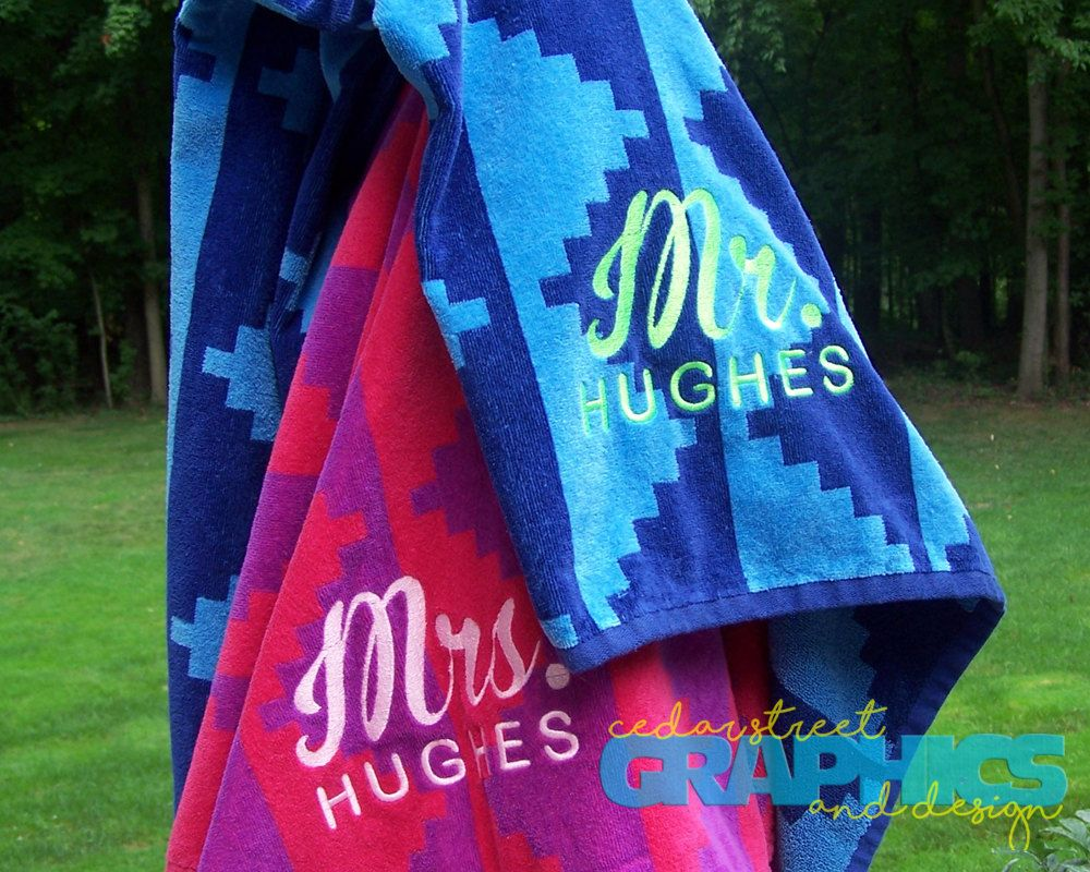 Mr And Mrs Beach Towel Set Of Two Extra Large His And Hers