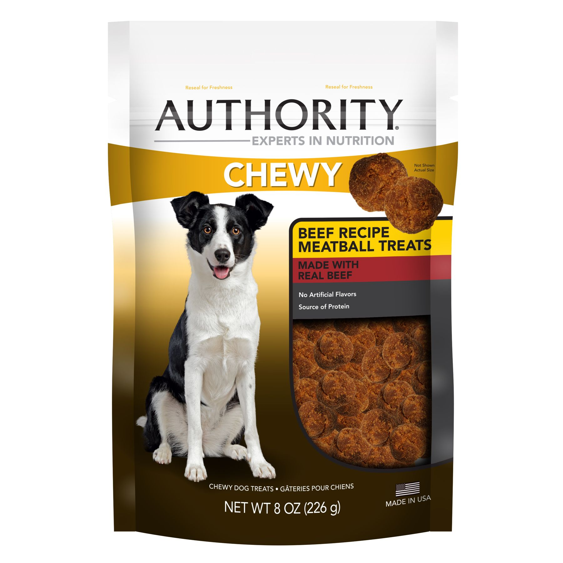 Authority Chewy Dog Treat Beef Meatball Size 8 Oz Adult