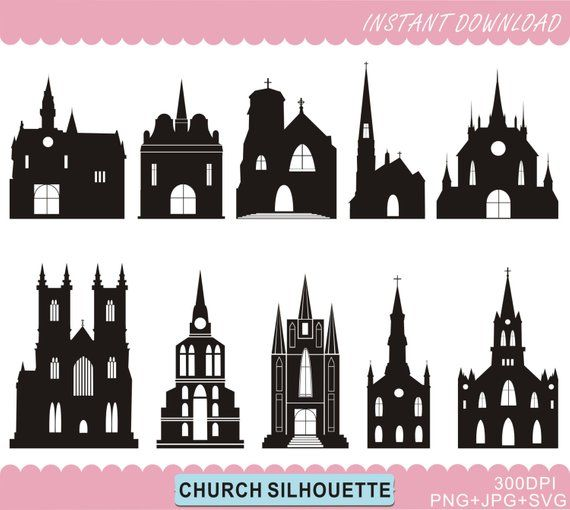photograph relating to Printable Silhouettes called Church Silhouettes Clipart, Castle Silhouettes, Church