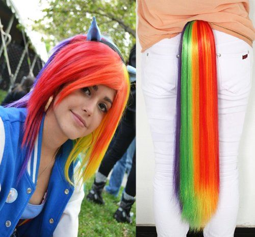 HILISS My Little Pony Rainbow Cosplay Wig +Dash Hair Fall Tie on Claw Clip Ponytail Set -Friendship Is Magic
