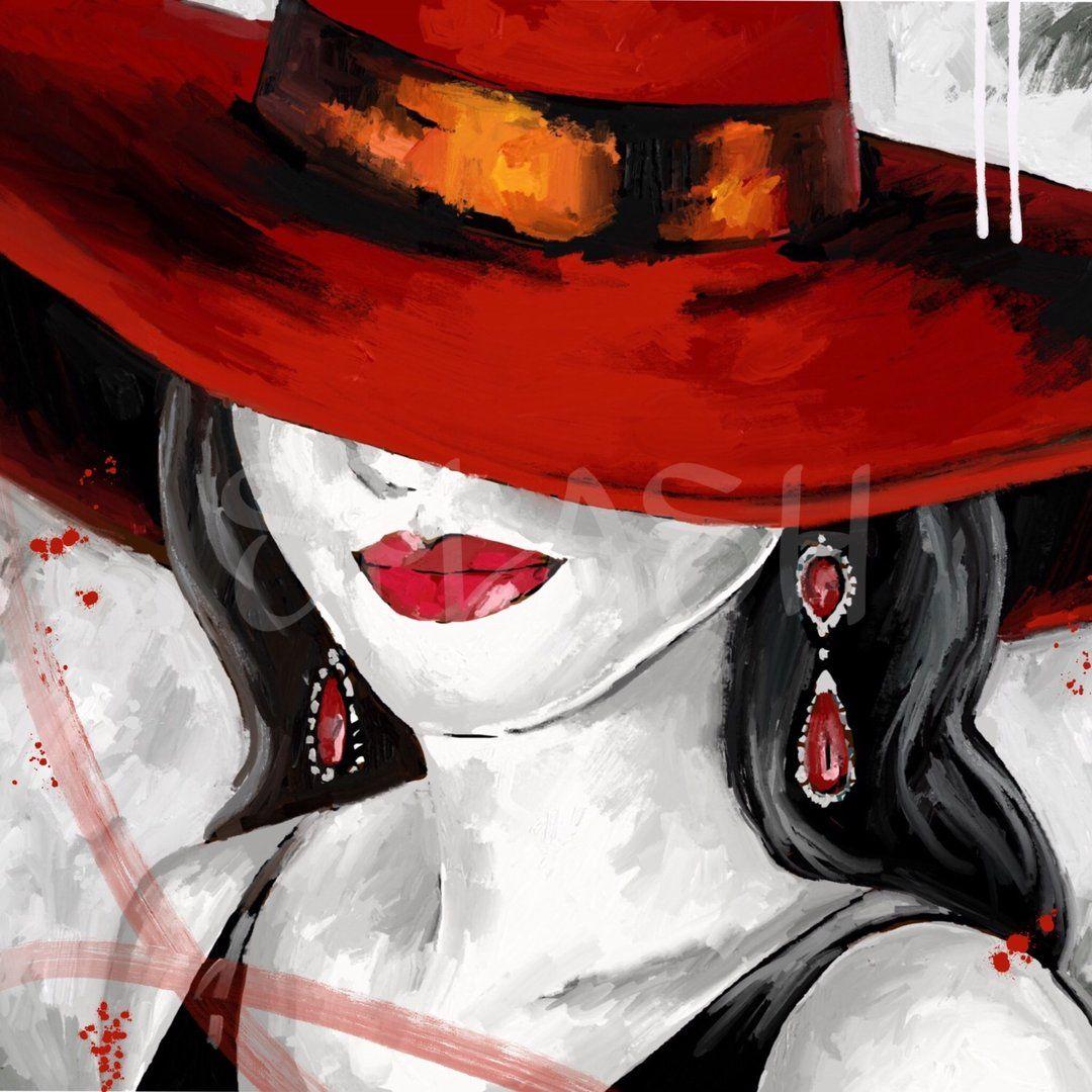 Dama con sombrero rojo 1 sp921 cuadros mujeres con for Cuadros decorativos modernos