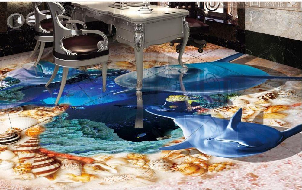 3d bodenbelag pvc selbstklebende tapete benutzerdefinierte 3d wasserdichte tapete delphin. Black Bedroom Furniture Sets. Home Design Ideas