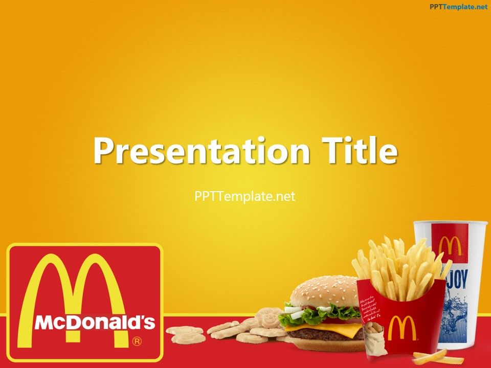 Freemcdonaldswithlogoppttemplate food ppt templates free mcdonalds with logo ppt template has the fast food theme the title slide features the official mcdonalds logo on toneelgroepblik Gallery
