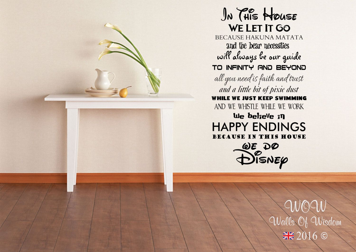 Disney In This House We Do Wall Sticker Wall Art Decal by WallsOfWisdomUK on Etsy https://www.etsy.com/listing/266664086/disney-in-this-house-we-do-wall-sticker