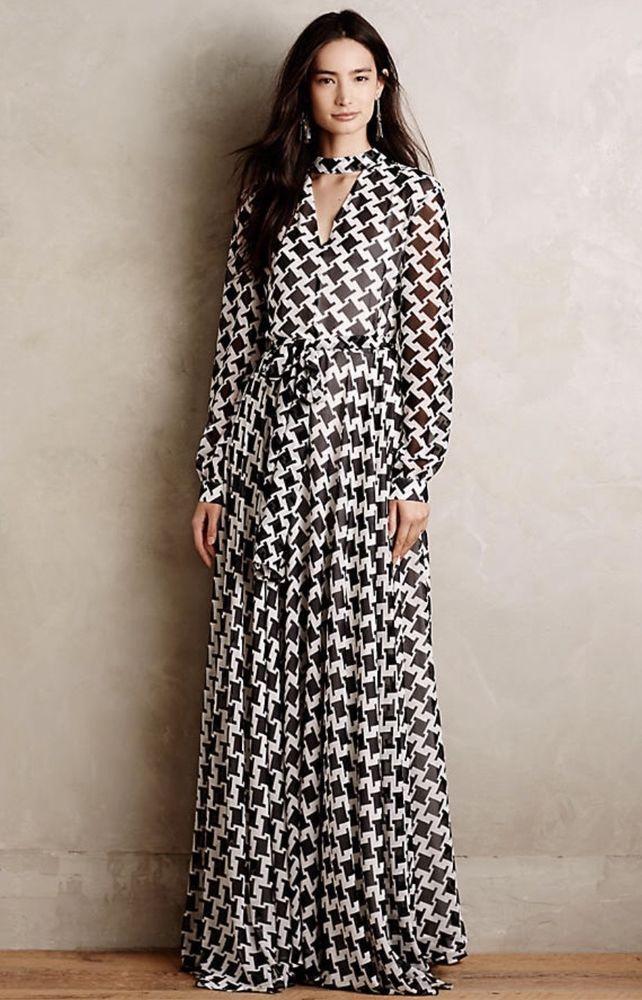 NEW Anthropologie TY-LR black   white Houndstooth Sheer Chiffon Maxi Dress  S  TYLR  Maxisashwaist  versatile 8500878f4